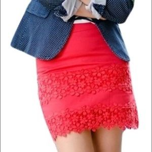 J. Crew Red Daisy Lace Mini Skirt Size 10